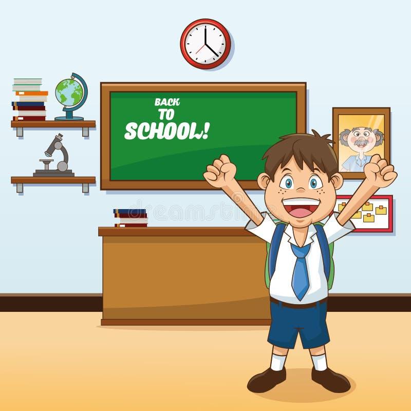 Jongensbeeldverhaal van terug naar schoolontwerp royalty-vrije illustratie