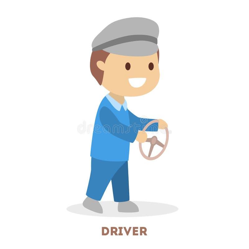Jongensbestuurder Jong kind met stuurwiel vector illustratie