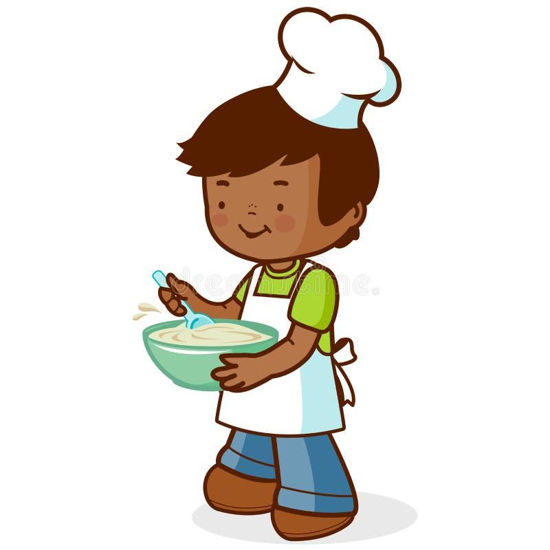 Jongenschef-kok het koken vector illustratie
