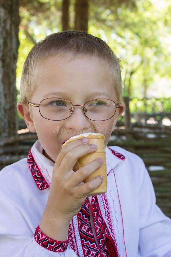 Jongensglazen die roomijs eten royalty-vrije stock afbeeldingen