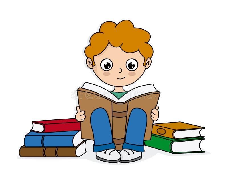 Jongenslezing door boeken wordt omringd dat stock illustratie