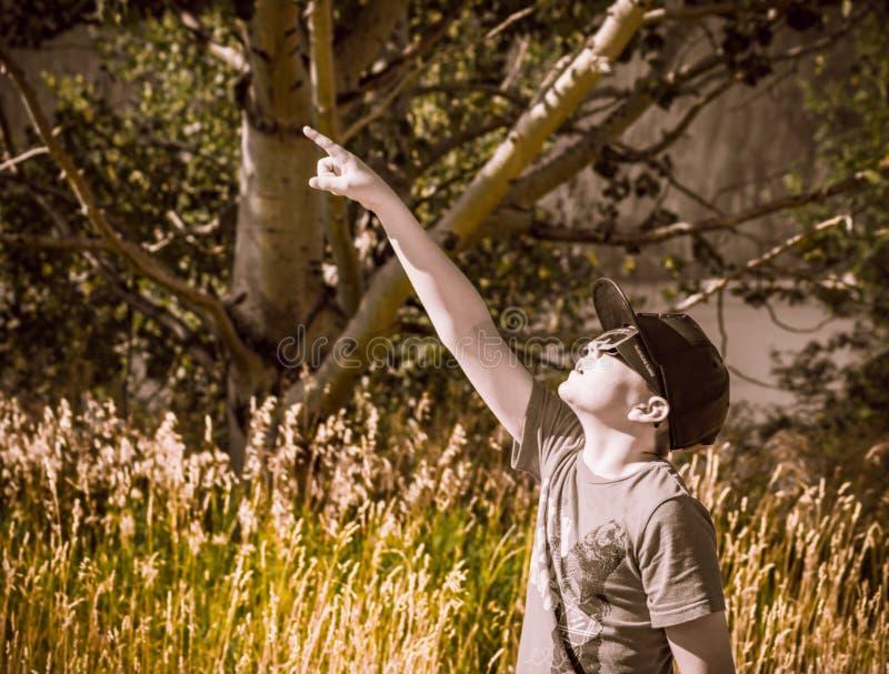 Jongenspunten bij de Zonneverduistering die Document Glazen draagt stock afbeeldingen
