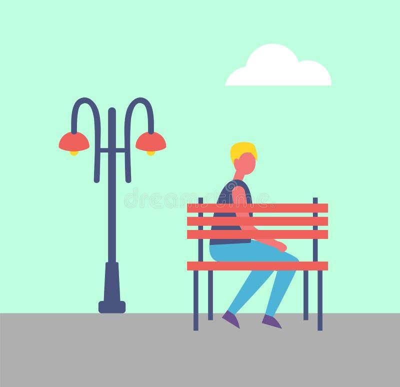 Jongenszitting alleen op Bankpark dichtbij Straatlantaarn stock illustratie