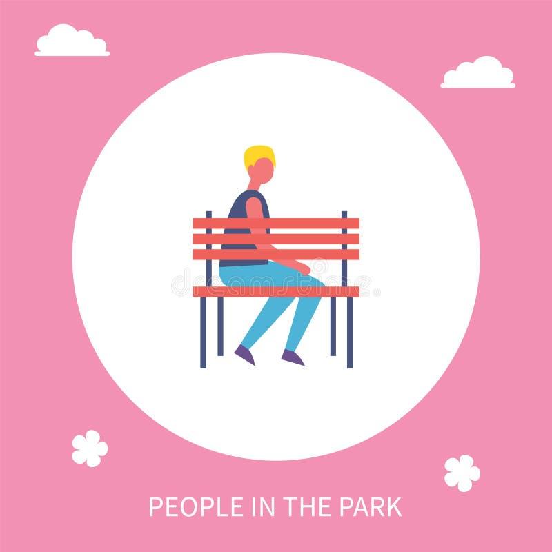 Jongenszitting op Bank alleen in de Banner van het Parkbeeldverhaal royalty-vrije illustratie