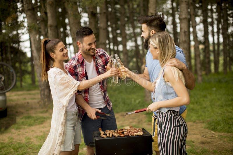 Jongeren die barbecue van partij in de aard genieten royalty-vrije stock afbeelding