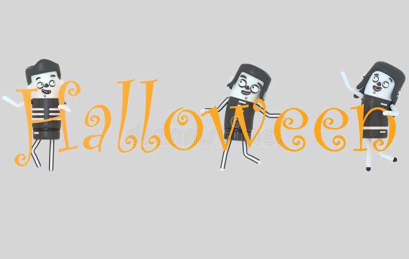 Jongeren die in kostuums Halloween-brieven houden 3D Illustratie royalty-vrije illustratie