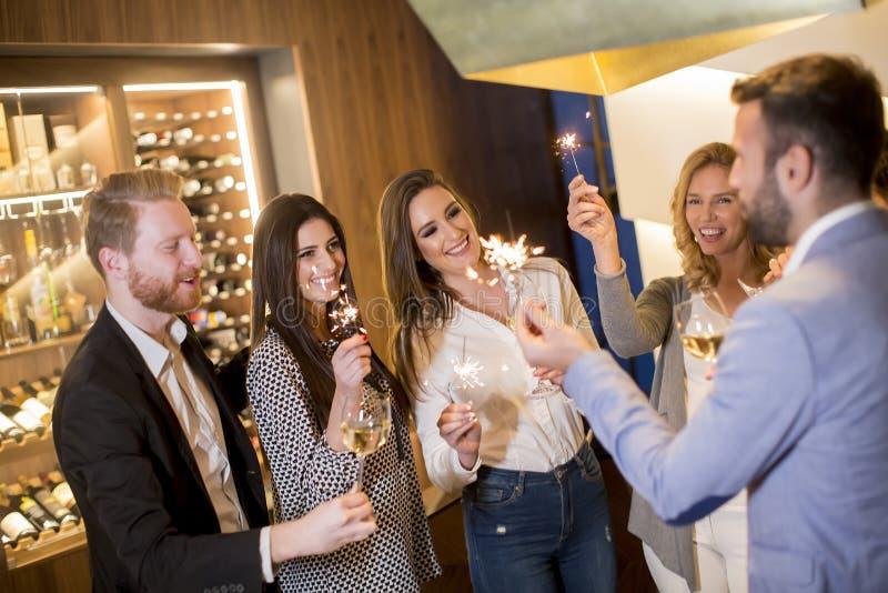 Jongeren die met witte wijn roosteren royalty-vrije stock foto's