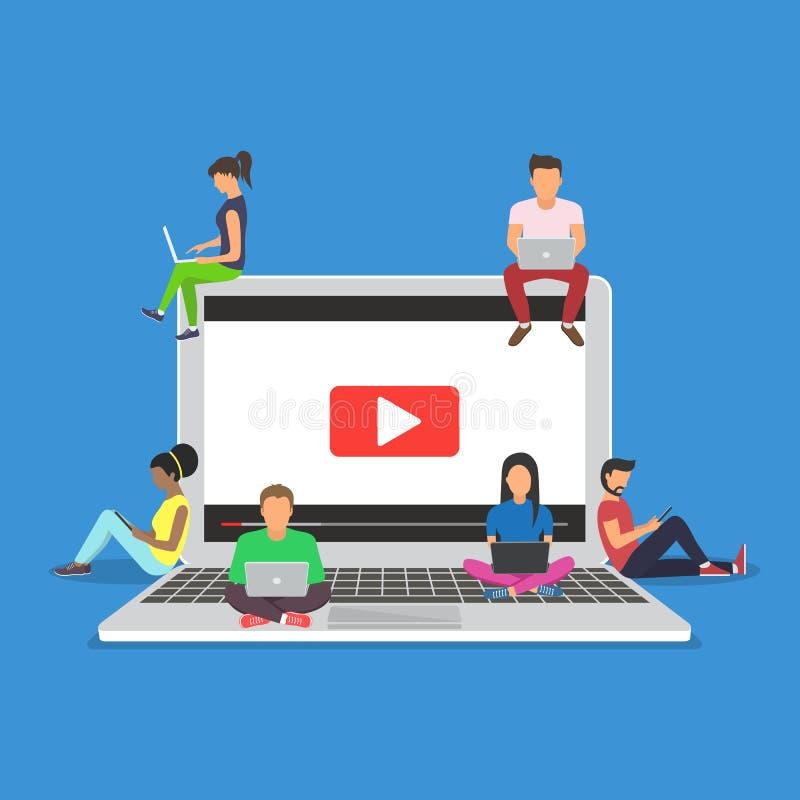 Jongeren die mobiele gadgets, tabletpc voor levend gebruiken lettend op een video via Internet royalty-vrije illustratie