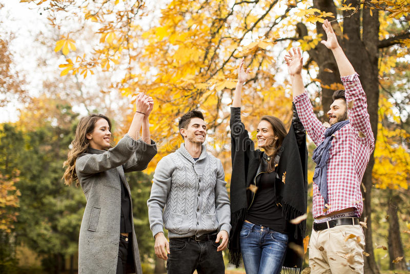 Jongeren die pret in de herfstpark hebben royalty-vrije stock fotografie