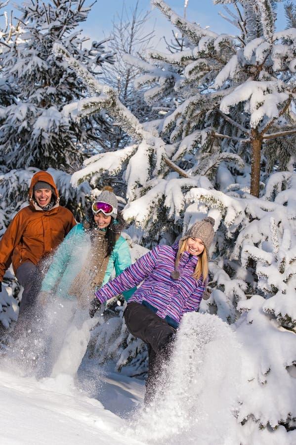 Jongeren die pret met sneeuw het lachen hebben royalty-vrije stock foto