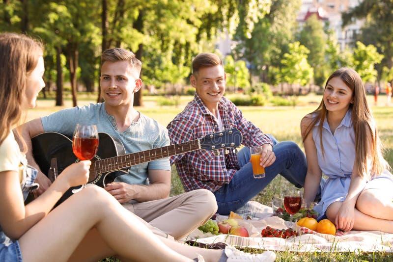 Jongeren die van picknick op de zomerdag genieten royalty-vrije stock foto