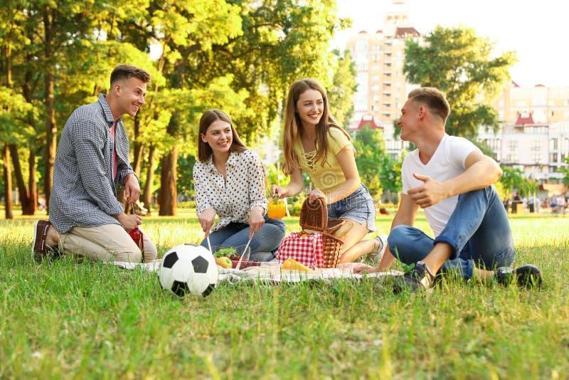Jongeren die van picknick op de zomerdag genieten royalty-vrije stock fotografie