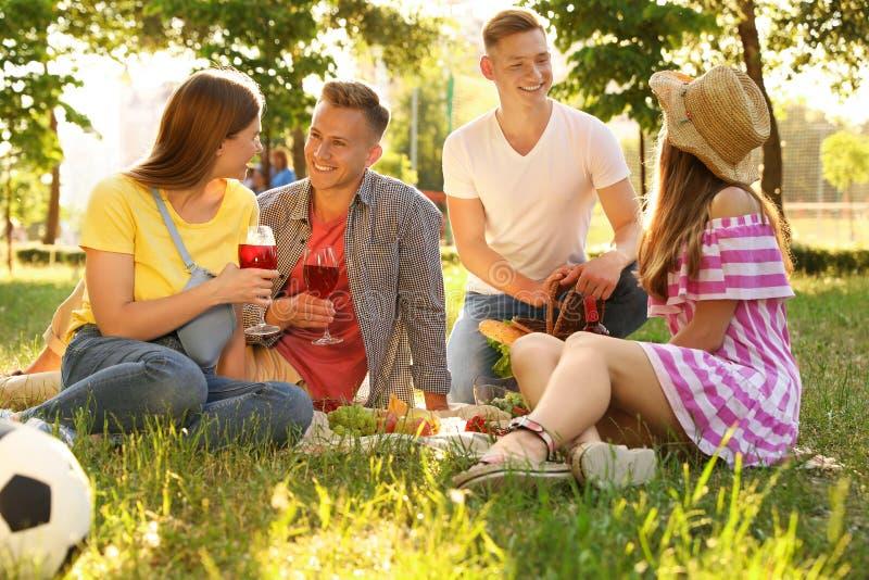 Jongeren die van picknick op de zomerdag genieten royalty-vrije stock afbeelding