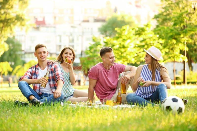 Jongeren die van picknick op de zomerdag genieten stock fotografie