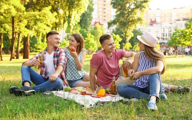 Jongeren die van picknick op de zomerdag genieten stock afbeeldingen