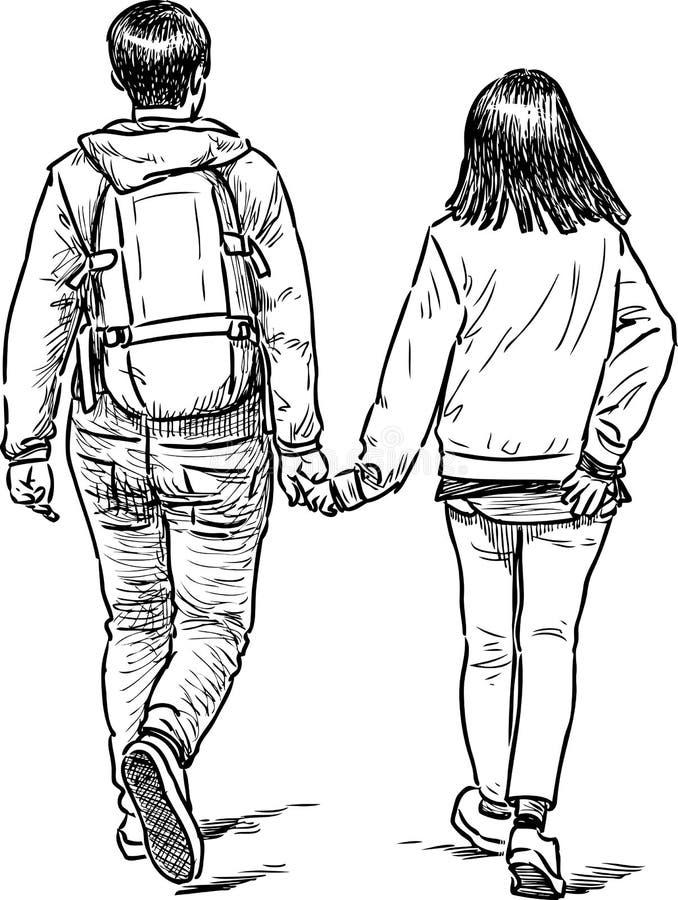 Jongeren het wandelen royalty-vrije illustratie