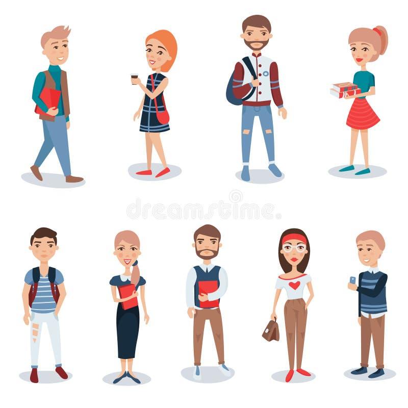 Jongeren in vrijetijdskleding die zich vastgesteld bevinden De vectorillustraties van bedrijfsmensenkarakters stock illustratie