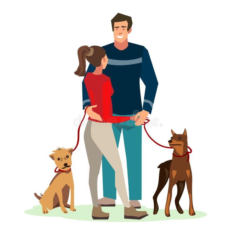 Jongerenkerel en het meisje die bevonden zich in een vriendschappelijke omhelzing terwijl het lopen van hun honden de spreken royalty-vrije illustratie