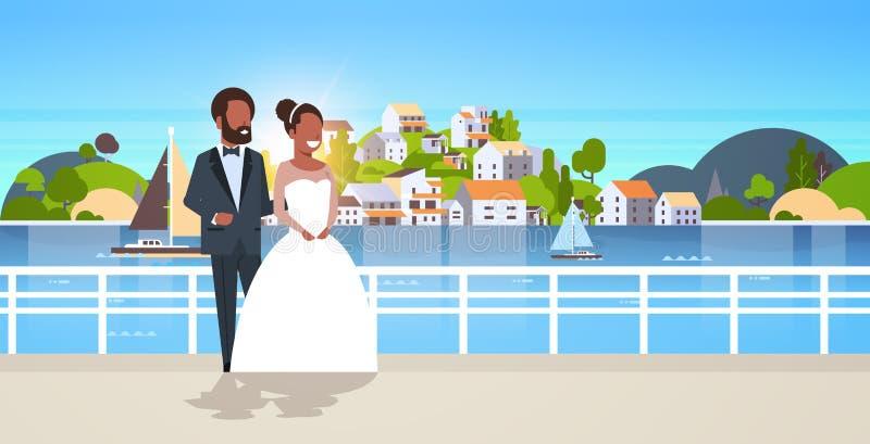 Jonggehuwden Afrikaans Amerikaans paar die zich bruid en bruidegom verenigen die van de het conceptenberg van de huwelijksdag de  vector illustratie