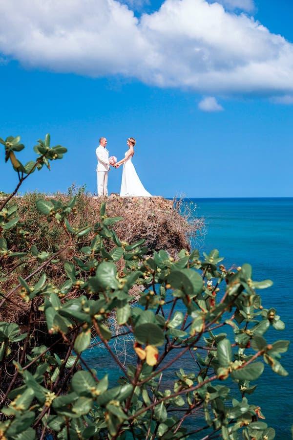 Jonggehuwden, bruid en bruidegom dichtbij de schilderachtige blauwe oceaan royalty-vrije stock afbeeldingen
