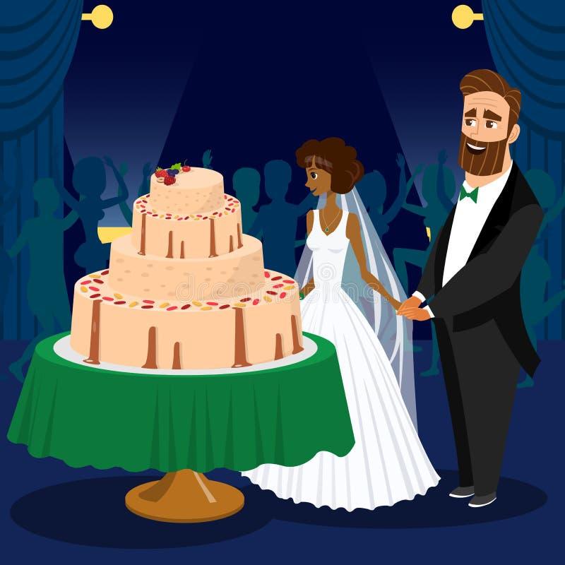 Jonggehuwden die de Vectorillustratie van de Huwelijkscake snijden stock illustratie