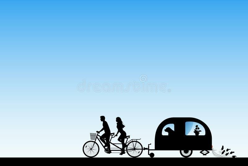 Jonggehuwden op fiets achter elkaar op weg royalty-vrije illustratie