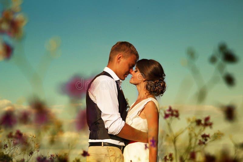 Jonggehuwden in zonsondergangzon op een gebied tegen de hemel en de purpere bloemen royalty-vrije stock fotografie