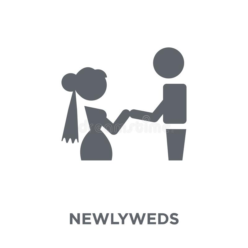 Jonggehuwdenpictogram van Huwelijk en liefdeinzameling vector illustratie