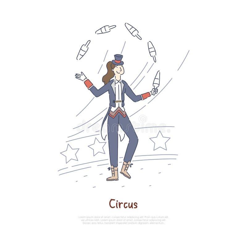 Jonglör som utför, yrkesmässig skådespelare i cirkusarena, aktör som jonglerar med benbanermallen stock illustrationer