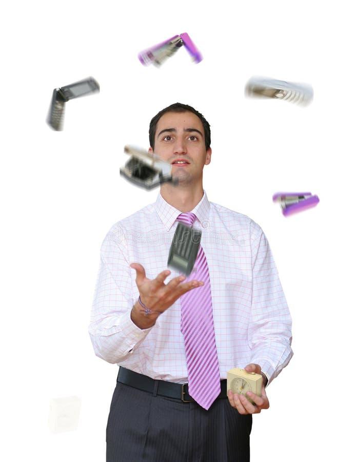 jonglera kontorshjälpmedel royaltyfri fotografi