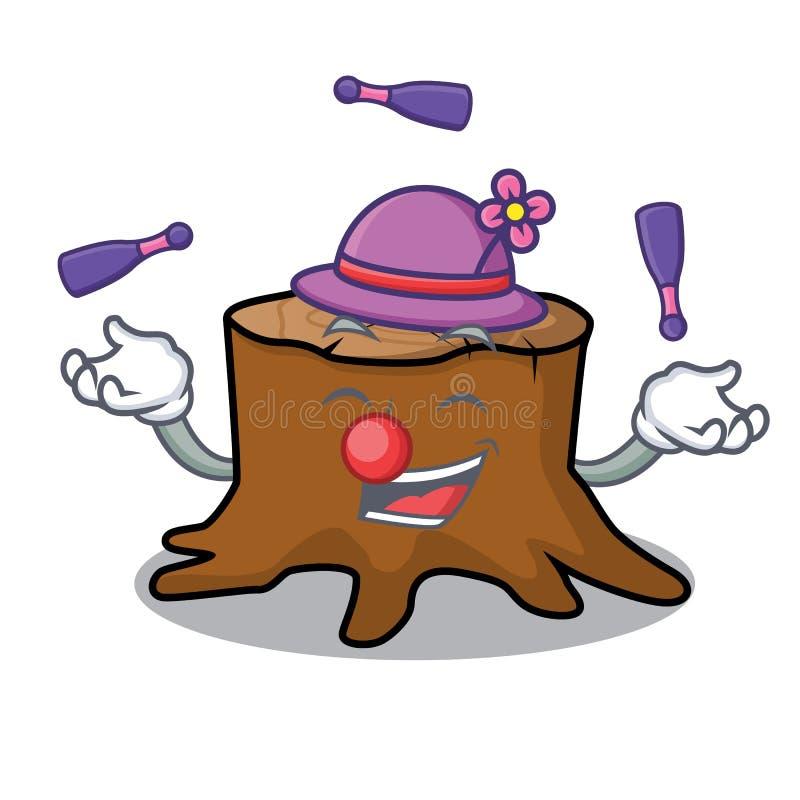 Jonglera tecknade filmen för maskot för trädstubbe stock illustrationer