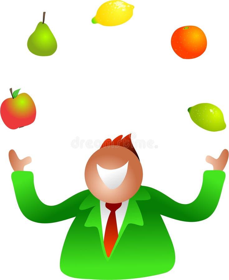 Jonglerend met fruit vector illustratie