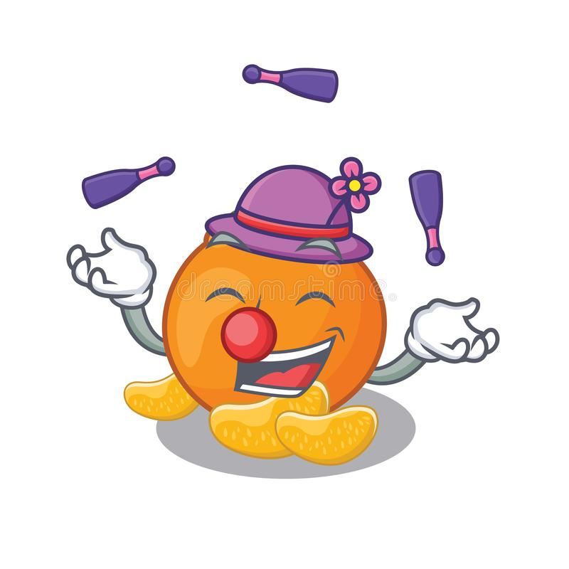 Jonglerend met mandarijn die met in het beeldverhaal wordt geïsoleerd stock illustratie