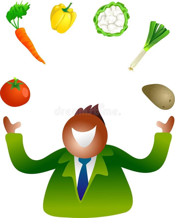 Jonglerende met groenten stock illustratie