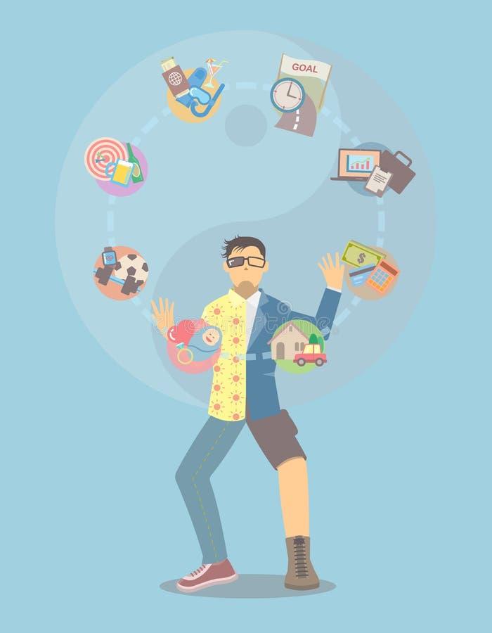 Jonglerie d'équilibre de la vie illustration de vecteur