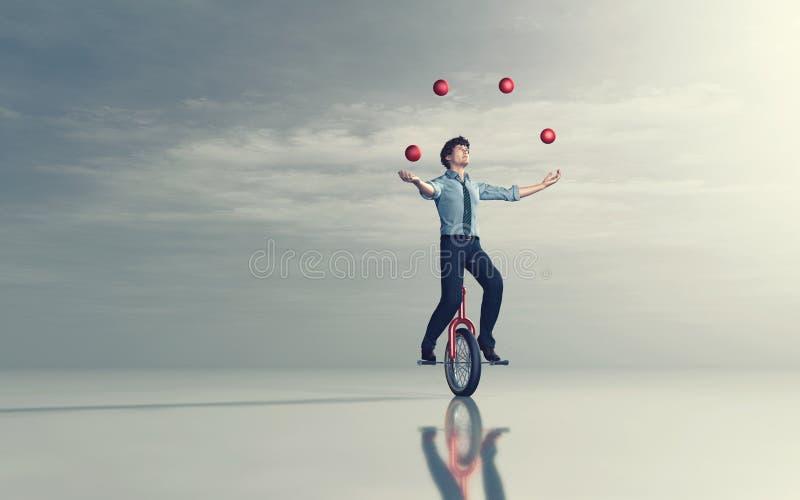 Jonglerie sur le monocycle illustration de vecteur