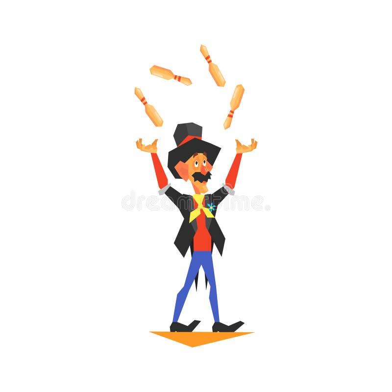 Jongleur performing de cirque illustration de vecteur - Image jongleur cirque ...