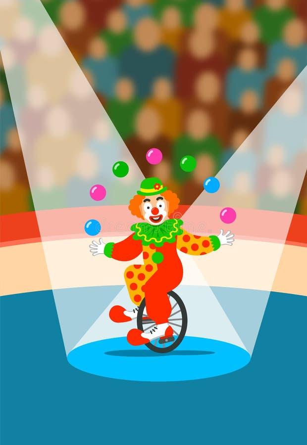 Jonglierende Bälle des Zirkusclowns auf Unicycle auf Arena lizenzfreie abbildung
