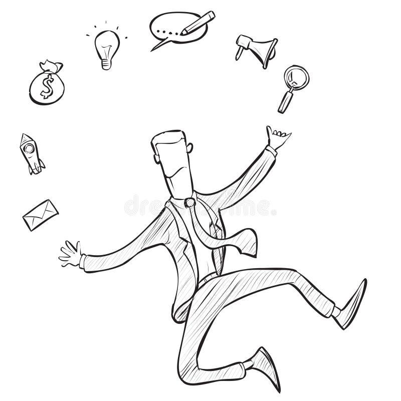 Jonglierende Geschäftsikonen des Geschäftsmannes und Fähigkeiten, Gekritzel-Illustration lizenzfreie abbildung