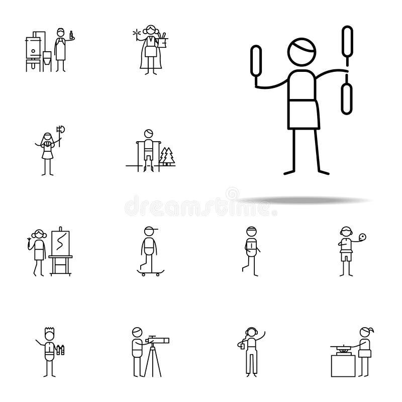 jonglierende Ikone hobbie Ikonen-Universalsatz für Netz und Mobile stock abbildung