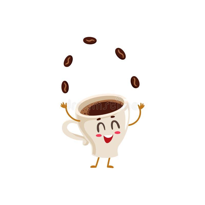 Jonglierende Kaffeebohnen des lustigen Energieespressoschalencharakters lizenzfreie abbildung