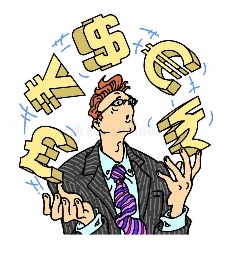 Jonglierende Währungszeichen des besorgten Geschäftsmannes