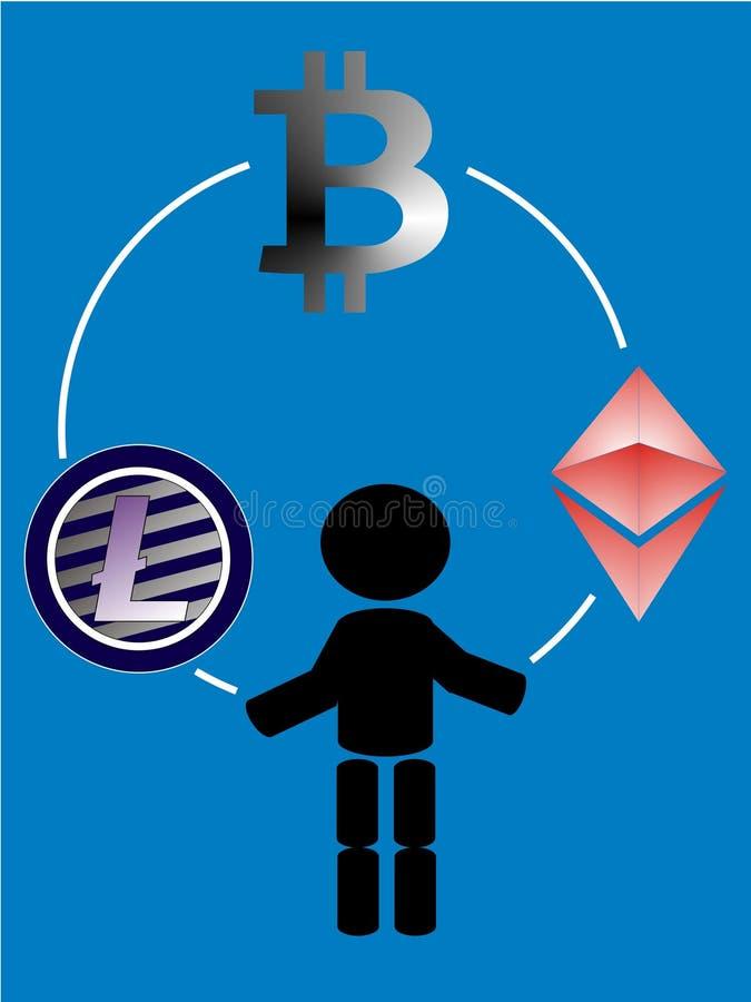Jonglierendes - ethereum - bitcoin - litecoin stock abbildung