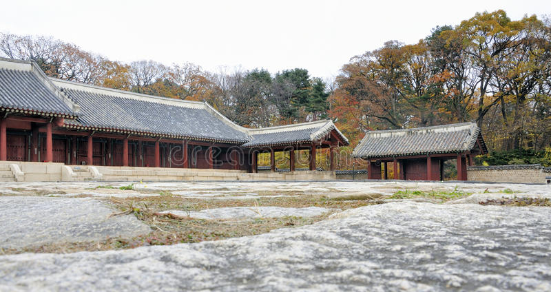 Jongmyo Royal Shrine in Seoul. South Korea. This is the supreme shrine of the state where the tablets of royal ancestors are enshrined. It is an Unesco World royalty free stock photos