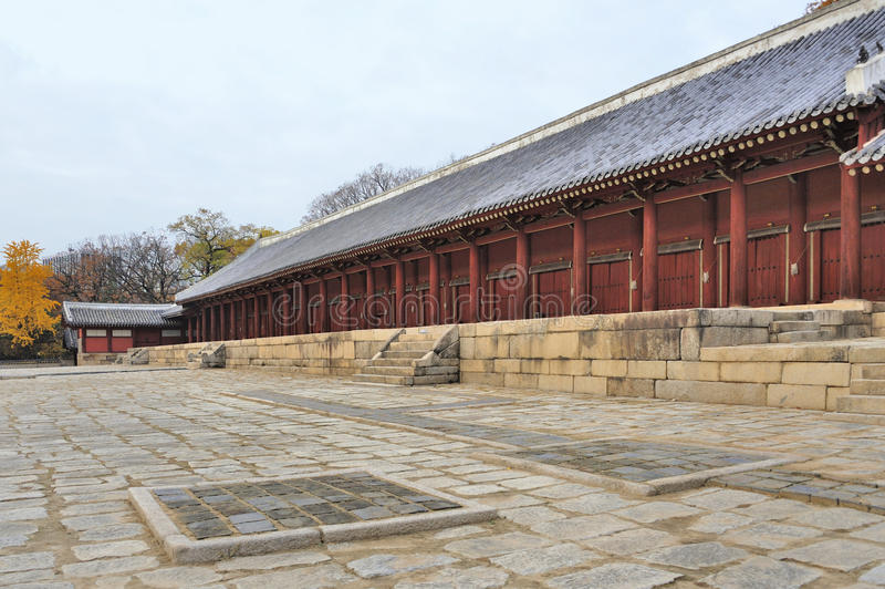 Jongmyo Royal Shrine in Seoul. South Korea. This is the supreme shrine of the state where the tablets of royal ancestors are enshrined. It is an Unesco World stock photo