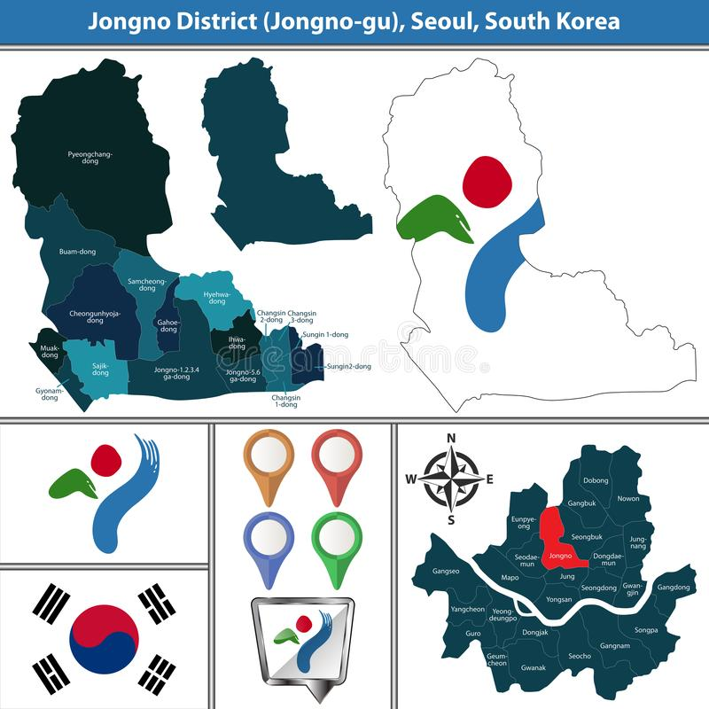 Jongnodistrict, de Stad van Seoel, Zuid-Korea royalty-vrije illustratie