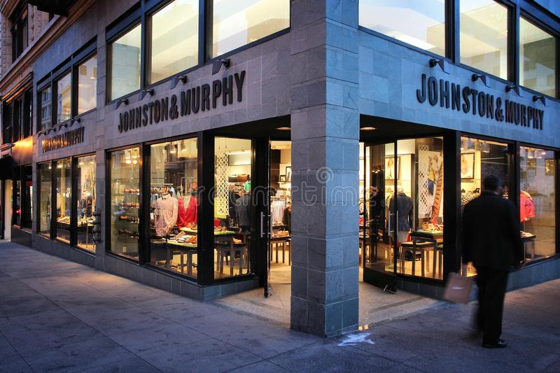 Jonhston and Murphy. SAN FRANCISCO, USA - APRIL 8, 2014: People walk by Johnston and Murphy fashion store in San Francisco, USA. Annual retail sales reached USD stock photography