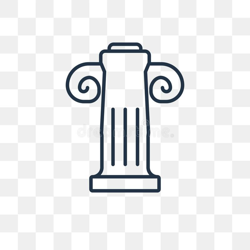 Jonic Column vector icon isolated on transparent background, lin royalty free illustration