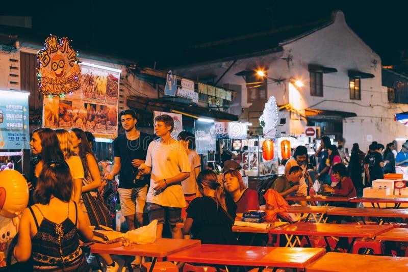 Jonker街夜市场在马六甲,马来西亚 免版税库存照片