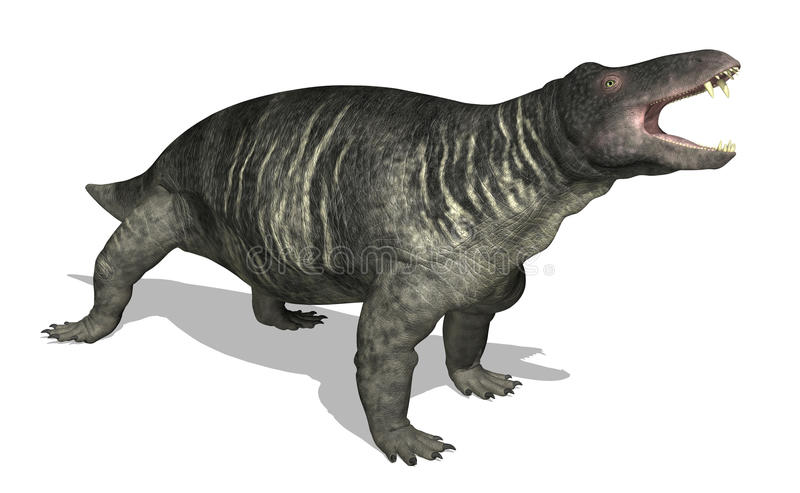 Jonkeria. The Jonkeria is a therapsid (mammal-like reptile) that lived 270 million years ago in southern Africa, during the Middle Permian period - 3d render stock illustration